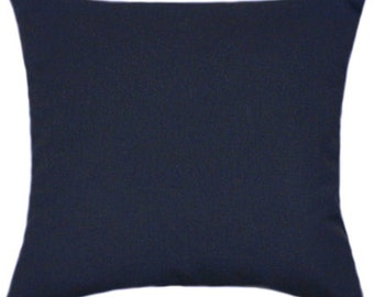 Sunbrella Canvas Navy Blue Indoor/Outdoor Solid Pillow