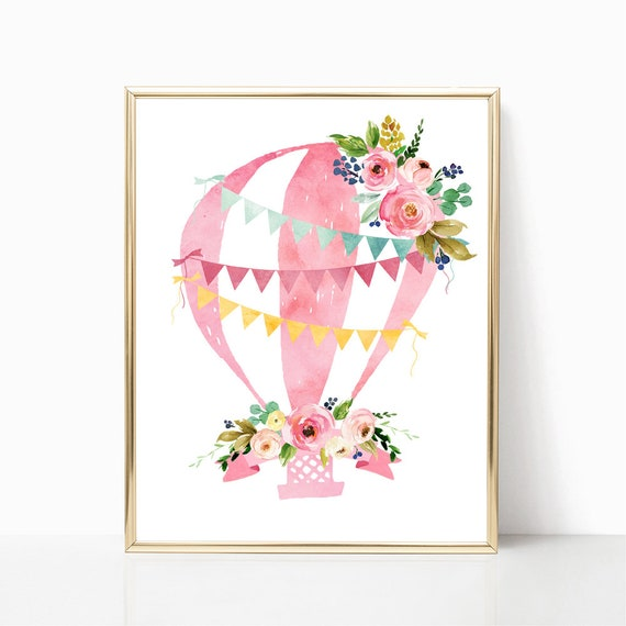 picture relating to Printable Hot Air Balloon titled Printable incredibly hot air balloon artwork report. Purple sizzling air balloon nursery print. Floral watercolor sizzling air balloon. Very hot air balloon nursery decor artwork