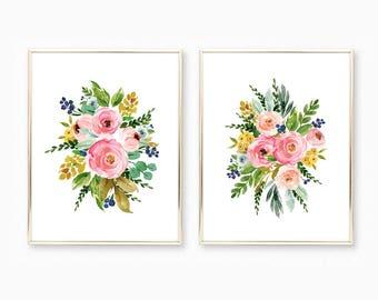 watercolor flower prints watercolor floral nursery wall