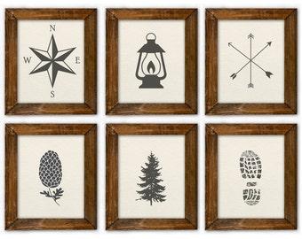 Vintage camping prints. Nature Art. Beige Art. Gray Art. Boy Bedroom Decor. Lake house Decor. Rustic Wall Art. Natural Cabin Decor Prints