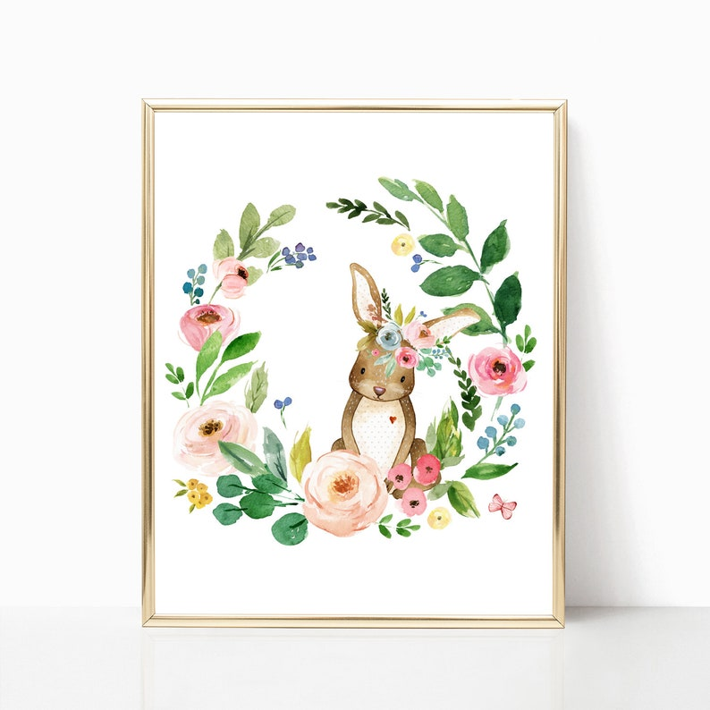 photograph about Rabbit Printable named Printable Floral Rabbit Nursery Artwork. Rabbit Print. Rabbit Printable. Floral Rabbit. Rabbit Artwork. Rabbit Nursery Decor. Watercolor Rabbit Artwork