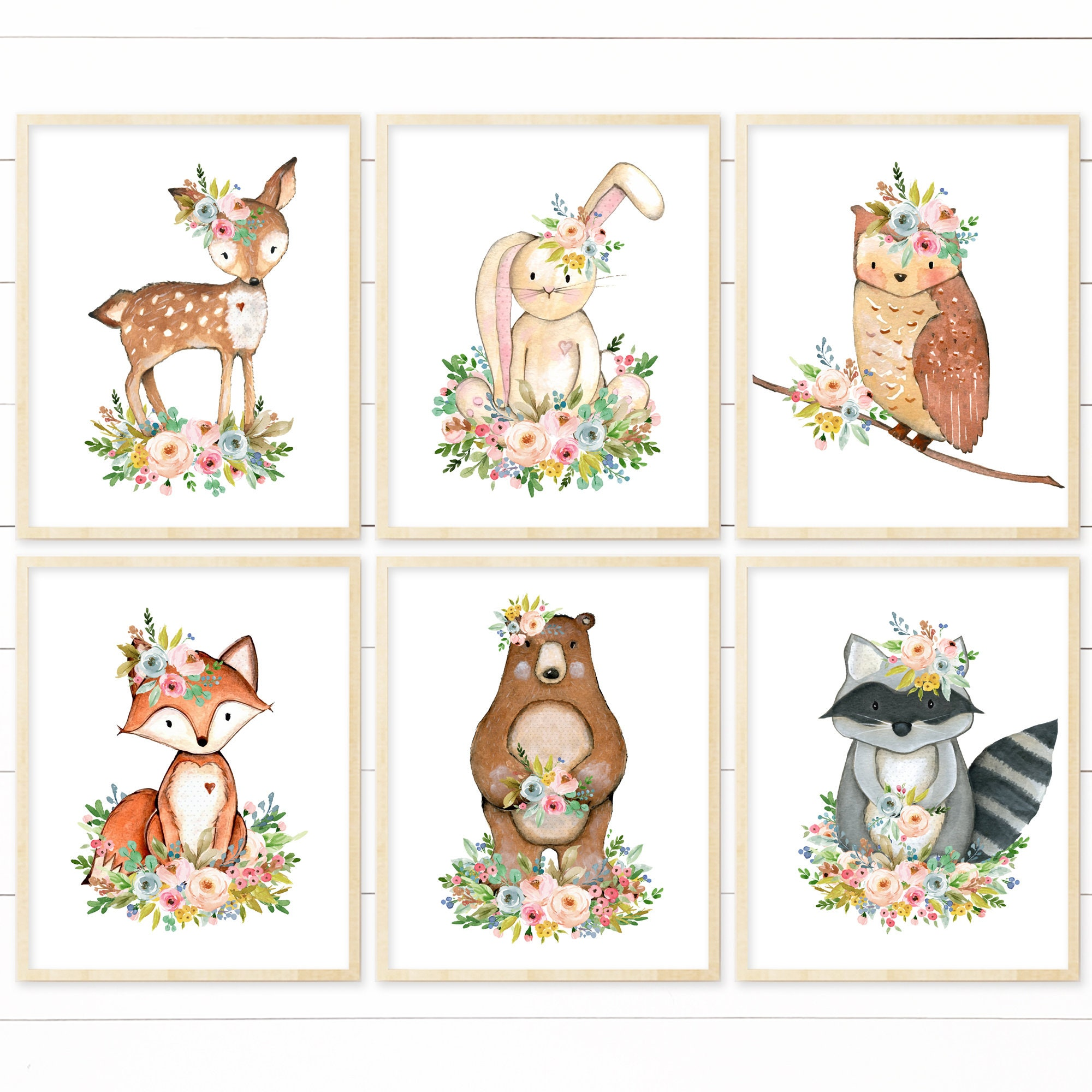 Square Nature Art Print prints woodland nursery printable Pink woodland animal printable Meadow printable nursery art boho illustration