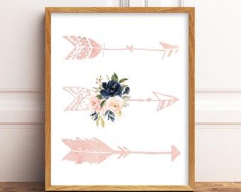 Blush Pink and Navy Floral Arrows Nursery Art JPEG File, Southwestern Nursery Art, Arrows Nursery Art. Floral Tribal Nursery Decor