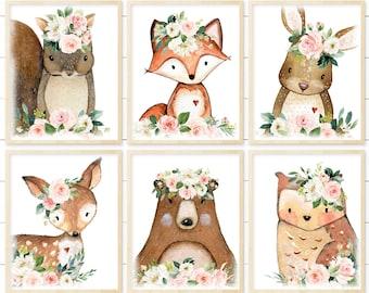 Blush Pink Woodland Nursery Animal Prints - Printable Files, Baby Girl Boho Nursery Nursery Wall Art Decor. Watercolor Animals, Set of 6.