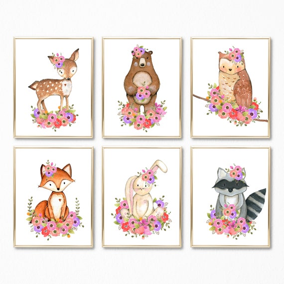 Girly Bedroom Items: Woodland Floral Art Woodland Girl Bedroom Art Woodland