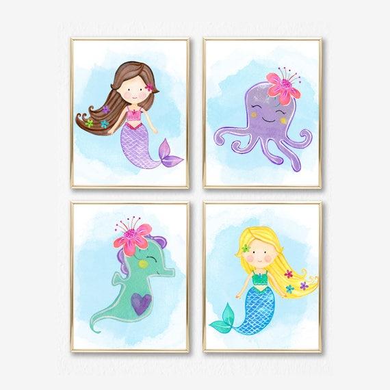 Decoración de cuarto de niños de sirena. Sirena infantil | Etsy