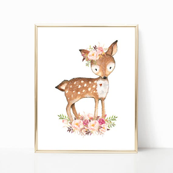 Floral Deer Nursery Art. Woodland Deer Art. Cute Deer