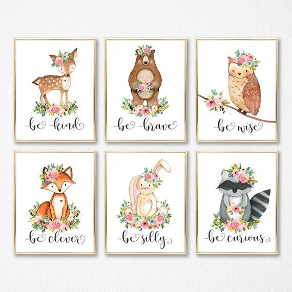 Wald-Kinderzimmer-Kunst. Baby-Mädchen-Kinderzimmer-Tiere. Kindergarten  Thema. Boho Wald Tiere. Baby-Dusche-Thema. Druckbare Blumen Aquarell Baby.