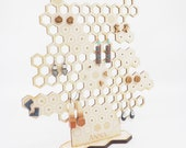 Honeycomb Earring Stand, Earring Holder and Display, Laser Cut Wooden Beehive Jewelry Stand