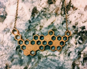 Handmade, Hand Painted and Laser Cut Gold Honeycomb Necklace, Gold Beehive Necklace, Geometric Hexagon Necklace