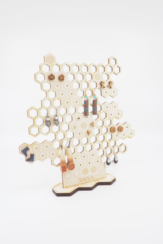 Honeycomb Earring Stand, Earring Holder And Display, Laser Cut Wooden Beehive Jewelry Stand by Etsy