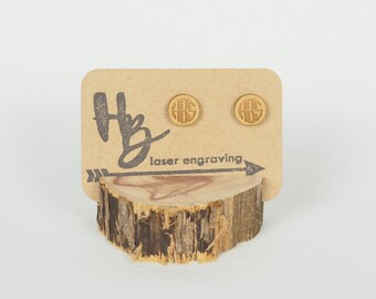 Wood Monogram Stud Earrings, Laser Cut Earrings, Custom Earrings, Gold Monogram Earrings, Monogram Earrings, Personalized Earrings