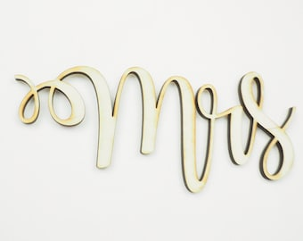 Mrs & Mrs Wedding Chair Sign, Wooden Laser Cut Chairbacks for Bride and Bride