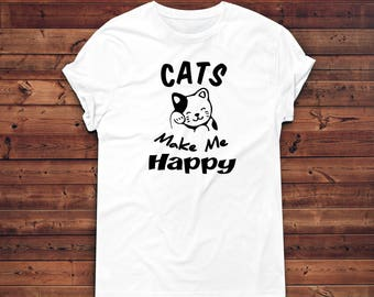 64ffe7064 Cats Make Me Happy T Shirt, Cat Owner, Crazy Cat Lady, Cats T-Shirt,  Kawaii, Unisex Crewneck T-shirt