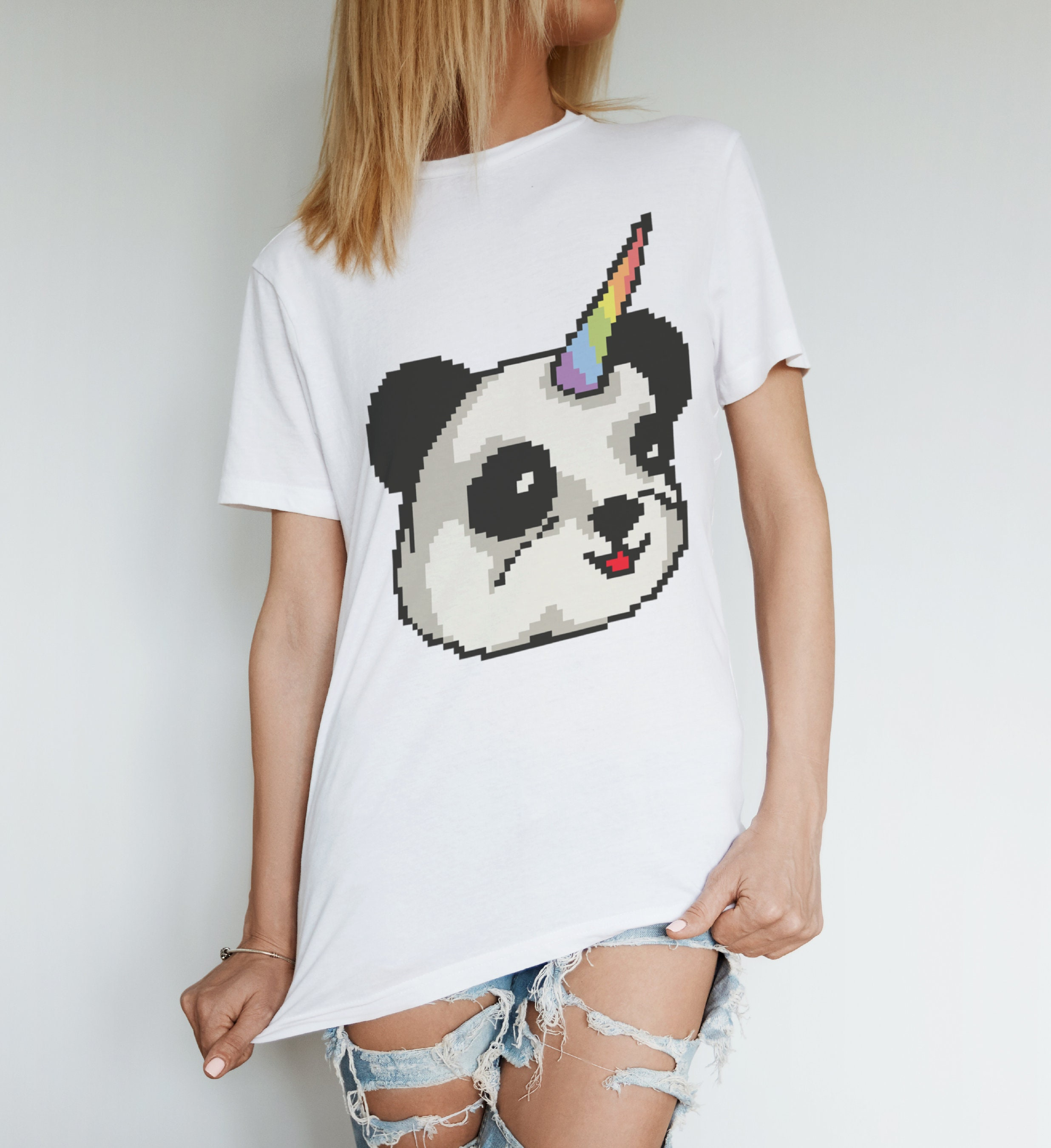 Pandacorn T-shirt, 8 Bit Panda Panda Bit T-shirt, Licorne, T-Shirt graphique, illustration, coton bio 19b53d