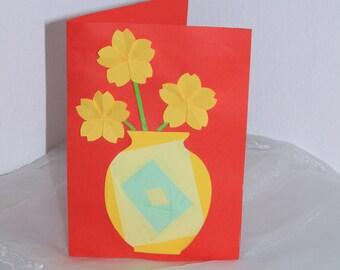Beautiful map/Iris fold/vase/cherry blossoms