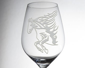 Etched Luxurious Horse Design Glass - Decorative Engraved Crystalware - Dining Table Decor - Great Gift - Exquisite Individual Glassware