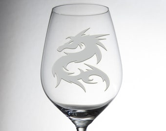 Etched Luxurious Dragon Design Glass - Decorative Engraved Crystalware - Dining Table Decor - Great Gift - Exquisite Individual Glassware