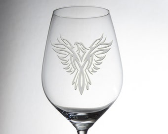 Etched Luxurious Phoenix Design Glass - Decorative Engraved Crystalware - Dining Table Decor - Great Gift - Exquisite Individual Glassware