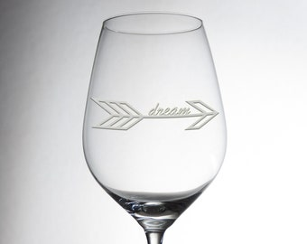 """Etched Luxurious """"DREAM"""" Design Glass - Decorative Engraved Crystalware - Dining Table Decor - Great Gift - Exquisite Individual Glassware"""