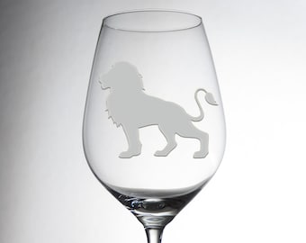 Etched Luxurious Lion Design Glass - Decorative Engraved Crystalware - Dining Table Decor - Gift for Her- Exquisite Individual Glassware