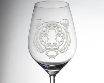 Etched Tiger Design Glass - Decorative Engraved Crystalware - Dining Table Decor - Gift for Him - Exquisite Magical Individual Glassware