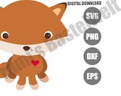 Cute Fox Clipart, Fox DXF, Cute Fox PNG, fox cut files, Baby Fox Clipart, Fox Printable, Fox Clip Art, Baby Fox SVG