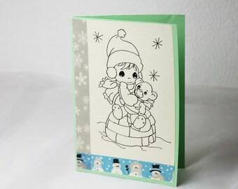 Greeting card, hand drawn, romantic card, winter, map