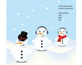 Snowman Clipart, Snowman SVG, Snowman DXF, Snowman Vector, Winter Cliparts, Christmas SVG Bundle, Snowman svg bundle