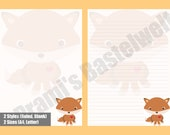 Printable Letter paper with cute fox motif, cute fox stationery | A4 and letter size | Woodland Stationery | PDF Letter Paper |