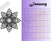 Dauerkalender, A4 PDF Kalender, digitaler Download, Ewiger Kalender, Mandala Kalender zum ausdrucken, Instant Download, Mandala ausmalen
