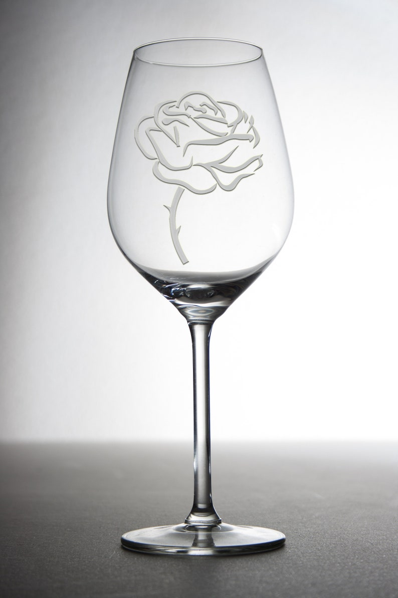 Etched custom wine glass with a beautiful rose everybody will image 0