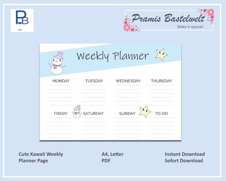 Cute Weekly Planner Kawaii Week Planner Kawaii Planner PDF image 0