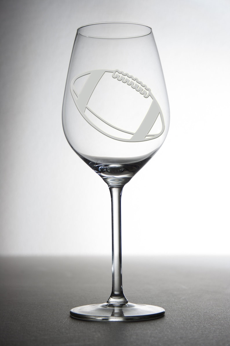 Football Glass Etched Wine Glasses Football Coach Gift Custom image 0