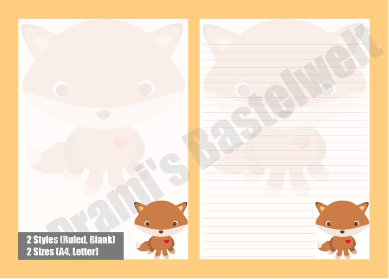 Printable Letter paper with cute fox motif cute fox image 0