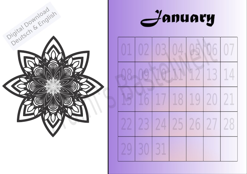 Perpetual Calendar A4 Calendar Mandala Calendar Monthly image 0