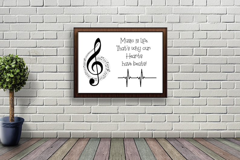 Music Note Wall Art Digital Print Music Realistic Download image 0