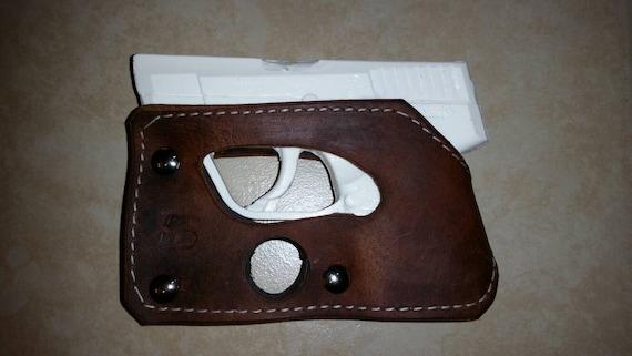 Pocket Holster Fits Kel-Tec P3AT Kel-Tec P32 Wallet Shoot Thru Brown Leather