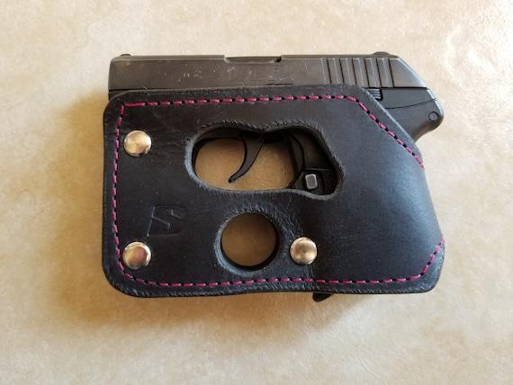 Ruger LCP 380/ Kel-Tec P3AT / Kel-Tec P32 380 black leather shoot thru  pocket holster concealed carry Pink