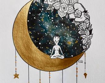 ART PRINT Watercolor Painting, Yoga Meditation Night Sky Scene, Divine Feminine, Goddess, Whimsical Starry Illustration, Moon Flowers