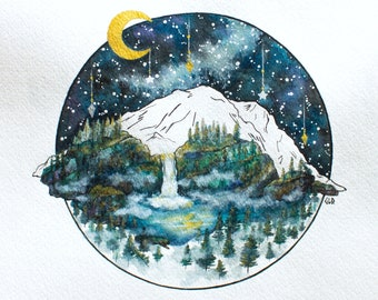 ART PRINT Watercolor Painting, Mountain Night Sky Scene, Whimsical Starry Illustration, Waterfall Nature Forest Evergreens Moon Illustration