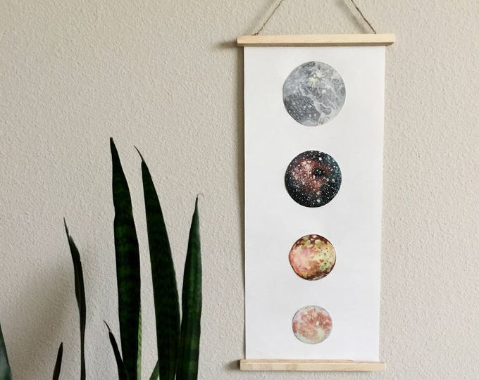 Moons of Jupiter ART POSTER Print, Astronomy Poster, Ganymede, Callisto, Io, Europa, Moons, Space Art
