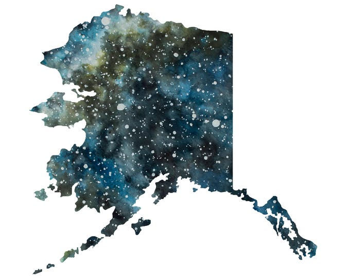 CUSTOM STATE STAR Chart, Watercolor Original Fine Art State Shaped Star Map Painting, Personalized, Night Sky, Stars, United States, Wedding