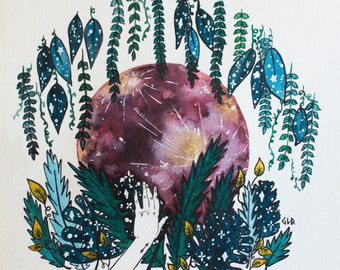 ART PRINT Full Moon Watercolor Painting, Explore, Jungle, Wanderlust, Sagittarius Moon, Whimsical Starry Illustration, Moon Flowers