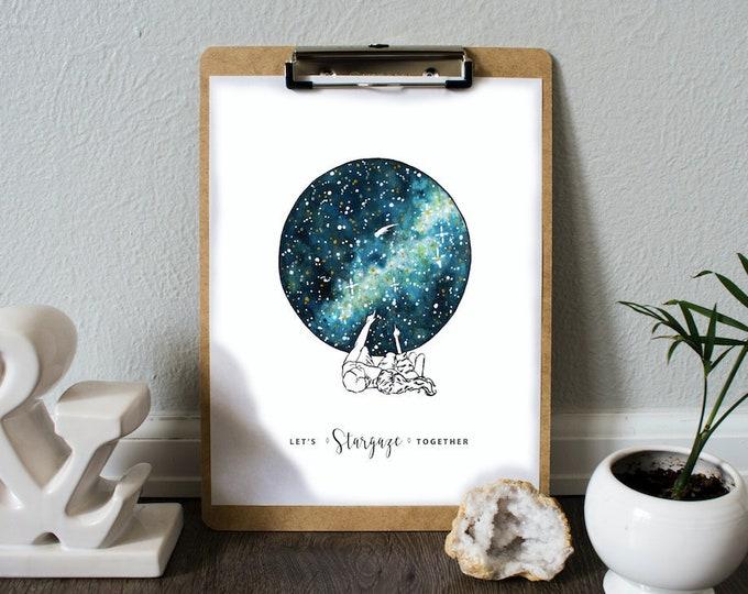 ART PRINT 'Let's Stargaze Together' Illustration