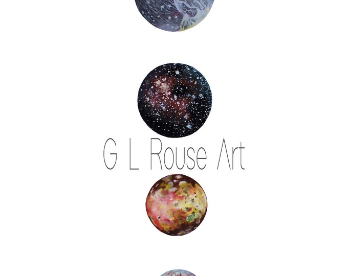 ART PRINTABLE Watercolor Painting, Instant Digital Download, Moons of Jupiter, Ganymede, Callisto, Io, Europa, Outer Space, Astronomy