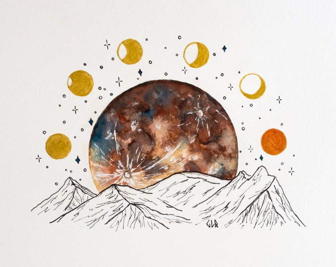 ART PRINT Watercolor Painting, SuperMoon, Moon Phases Illustration, Moonrise Mountains Scene, Lunar Phases, Super Blue Blood Moon