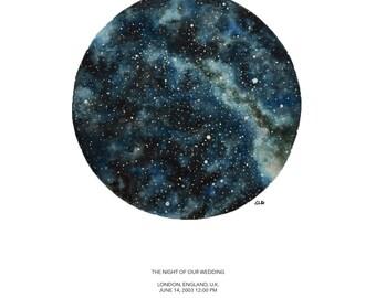 Large CUSTOM STAR CHART, Watercolor Original Fine Art Star Map Painting, Personalized, Night Sky, Stars, Wedding, Anniversary, Birthday,Gift