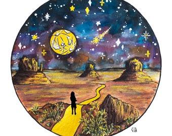 ART PRINT Full Moon Watercolor Painting, Explore, Desert, Wanderlust, Sagittarius Moon, Whimsical Starry Illustration, Outer Space, Universe