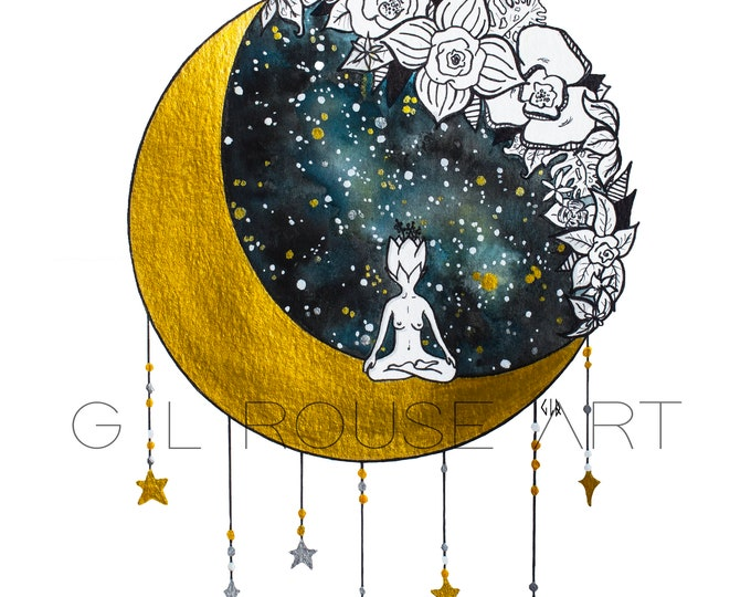 ART PRINTABLE Watercolor Painting, Instant Digital Download, Yoga Meditation,Divine Feminine, Whimsical Starry Illustration, Moon Flowers